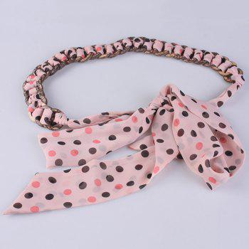 Polka Dot Embellished Chiffon Decorative Waist Belt -  PAPAYA