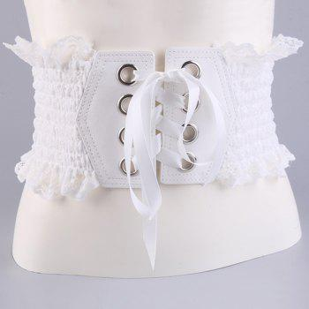 Elastic Metal Circles Lace Up Wide Corset Belt