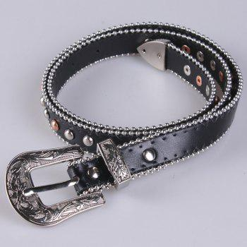 Pin Buckle Metallic Engraved Punk Rivet Belt -  BLACK