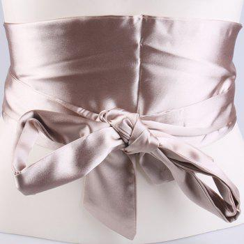 Imitation Silk Ribbon Wide Corset Belt -  CHAMPAGNE