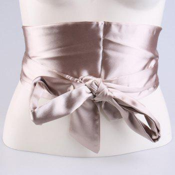 Imitation Silk Ribbon Wide Corset Belt - CHAMPAGNE CHAMPAGNE