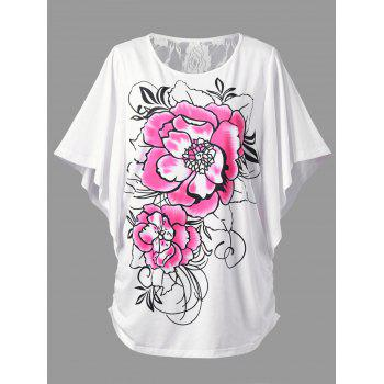 Plus Size Lace Trim Butterfly Sleeve T-Shirt