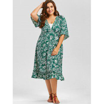 V Neck Floral A Line Plus Size Midi Dress - GREEN GREEN
