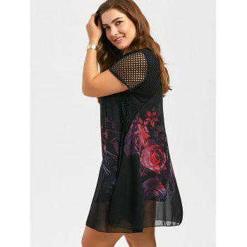 Plus Size Mini Floral Chiffon Dress with Fishnet Panel - BLACK 4XL
