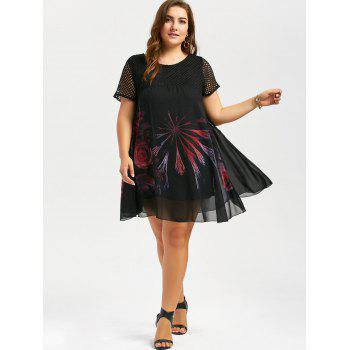Plus Size Mini Floral Chiffon Dress with Fishnet Panel - BLACK 5XL
