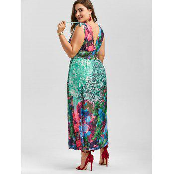 Floral Plunging Neck Sleeveless Maxi Plus Size Dress - multicolor multicolor