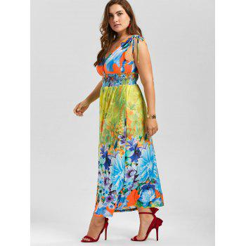 Plunging Neck Sleeveless Floral Plus Size Dress - multicolor XL