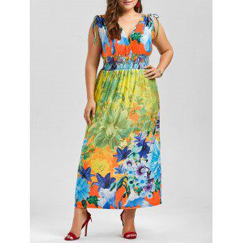 Plunging Neck Sleeveless Floral Plus Size Dress - MULTI multicolor