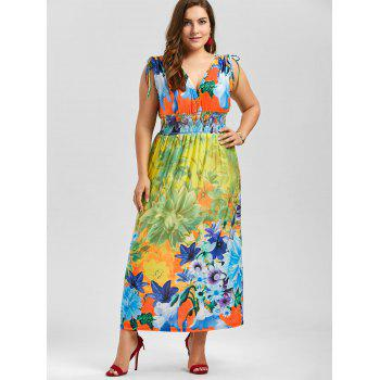 Plunging Neck Sleeveless Floral Plus Size Dress - multicolor 2XL