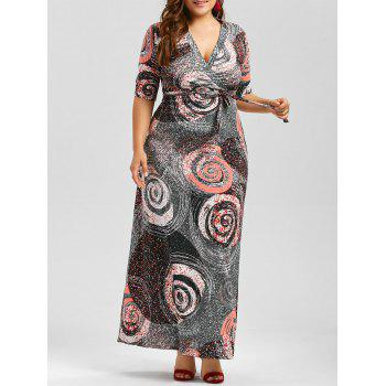 Galaxy Print Plus Size Floor Length Dress With Belt