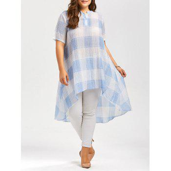 Plus Size Asymmetric Plaid Long Tunic Shirt