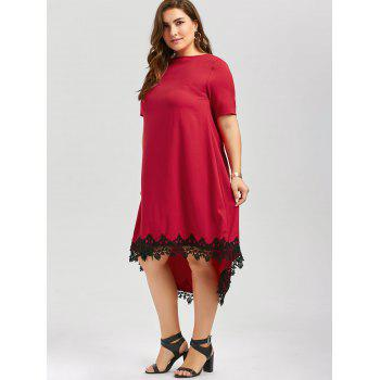 Plus Size High Low Lace Trim Swing Dress - RED 3XL