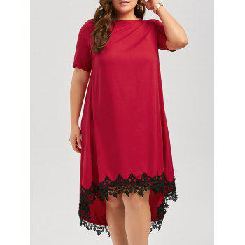 Plus Size High Low Lace Trim Swing Dress - RED RED
