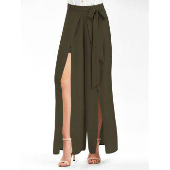 Tie Belt High Slit Palazzo Pants