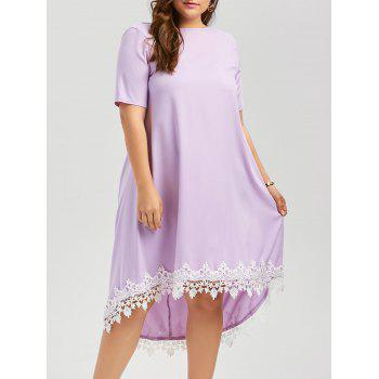 Plus Size High Low Lace Trim Swing Dress