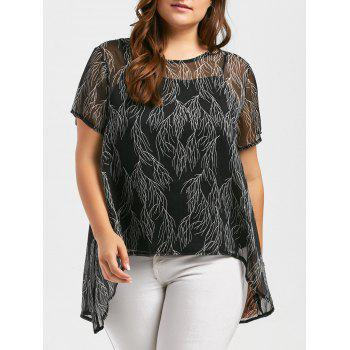Plus Size Sheer Chiffon Blouse and Cami Top