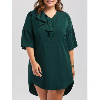 Plus Size Ruffle Bell Sleeve Shift Dress