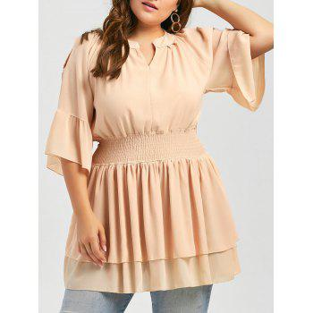 Plus Size Ruffle Bell Sleeve Cold Shoulder Dressy Top