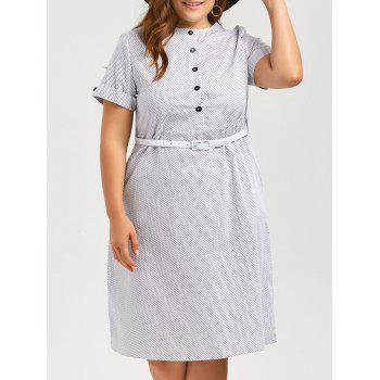 Plus Size Polka Dot Vintage Shirt Dress with Pockets