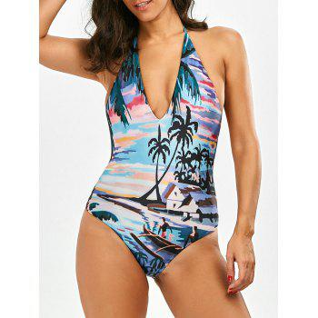 Halter Tropical Printd Backless Swimsuit