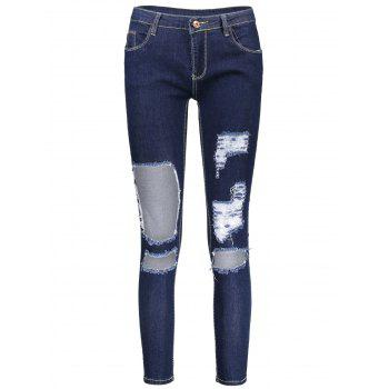 Distressed Cut Out Skinny Jeans - DEEP BLUE XL