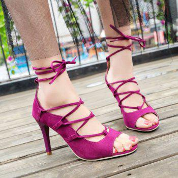 Cross Strap Stiletto Heel Lace Up Sandals