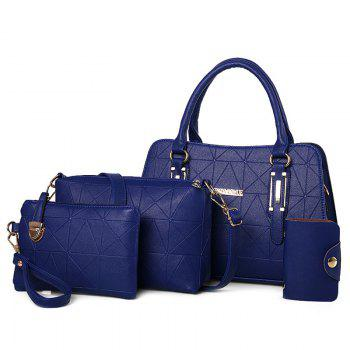 4 Pieces Geometric Pattern Handbag Set - BLUE BLUE