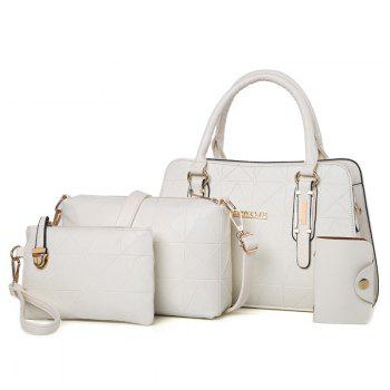 4 Pieces Geometric Pattern Handbag Set - OFF-WHITE OFF WHITE