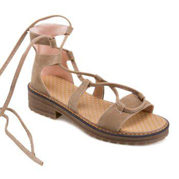 Tie Up Suede Flat Heel Sandals
