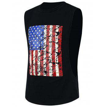 4th of July Sports Distressed American Flag Tank Top - BLACK BLACK