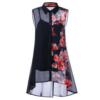 Plus Size Sleeveless Floral Blouse with Camisole