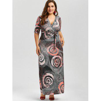 Galaxy Print Plus Size Floor Length Dress With Belt - COLORMIX 3XL