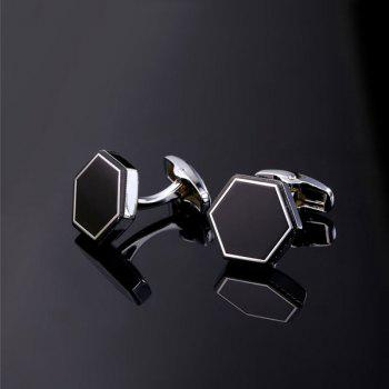 Hexagon Geometric Alloy Cufflinks - SILVER WHITE