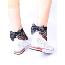 Fish Net Bowknot Embellished Anklet Socks
