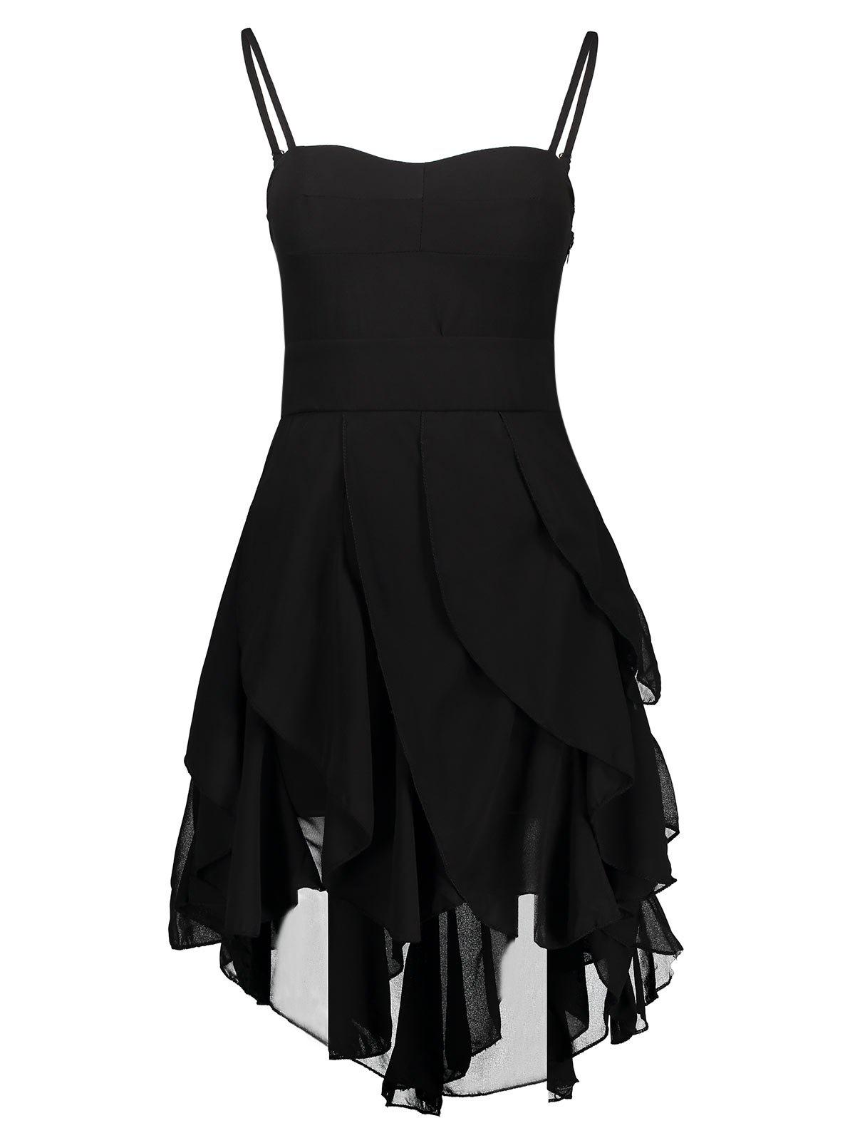 Vintage Spaghetti Strap Asymmetrical Solid Color Gothic Dresses - BLACK XL