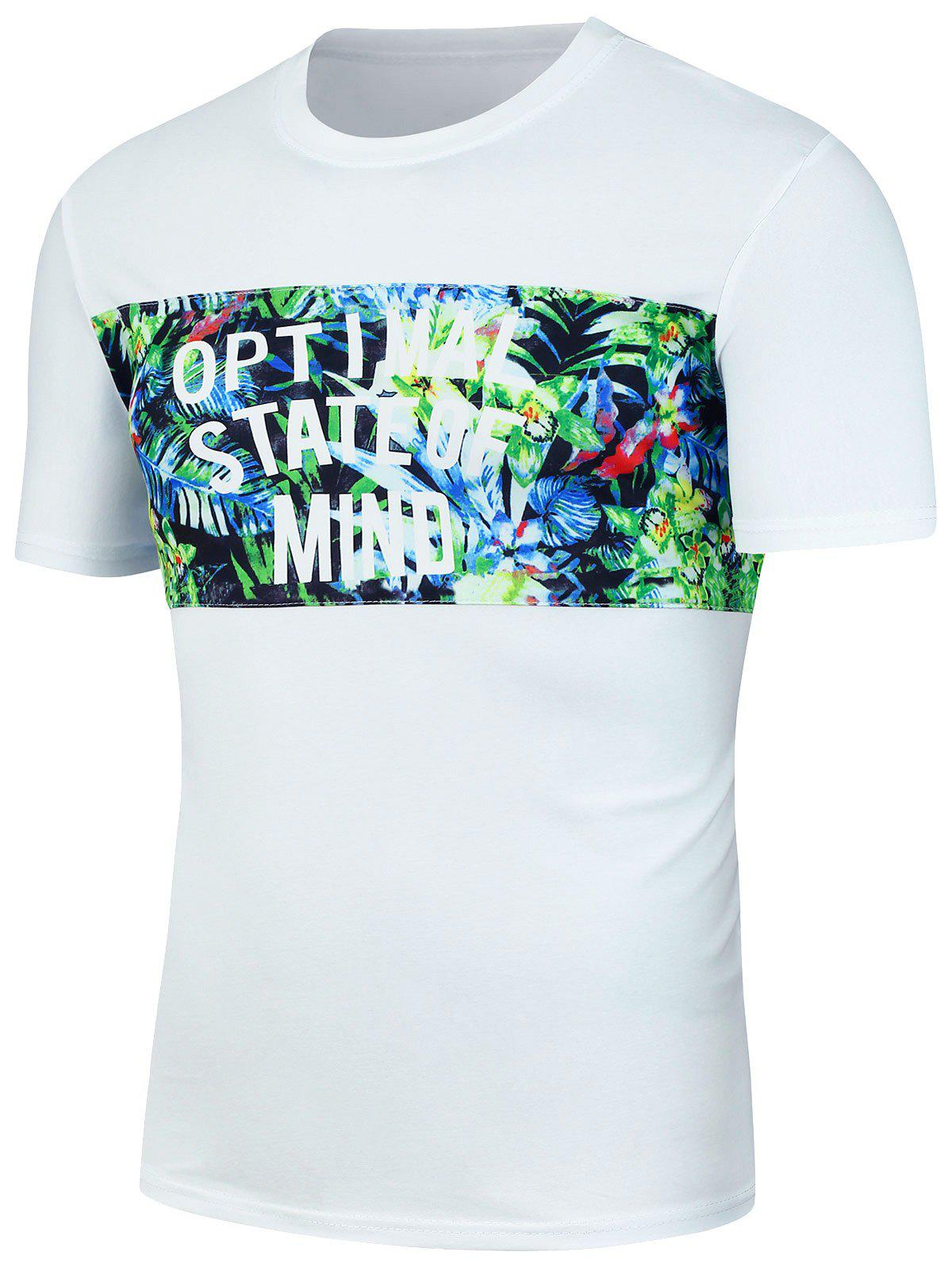 Crew Neck Tropical Floral Graphic T-Shirt - WHITE XL