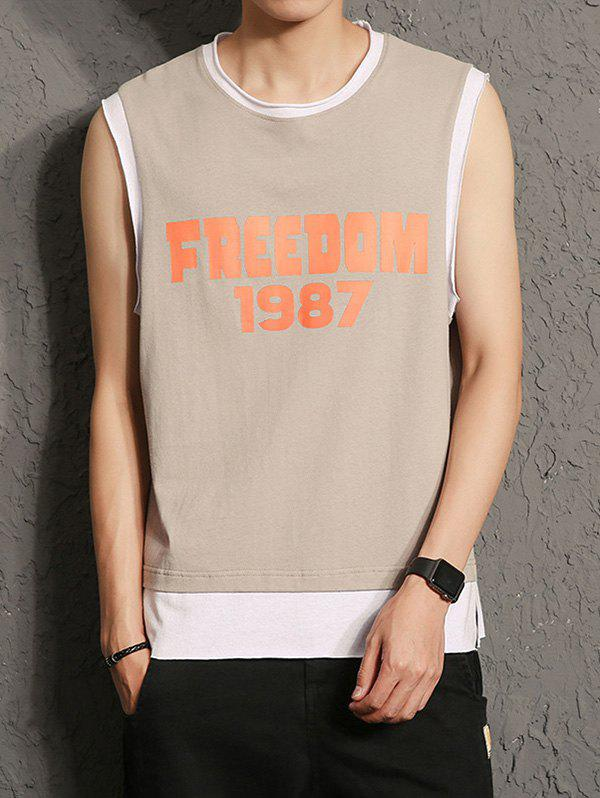 2018 graphic print raw cut sleeveless t shirt coffee l in for Sleeveless graphic t shirts