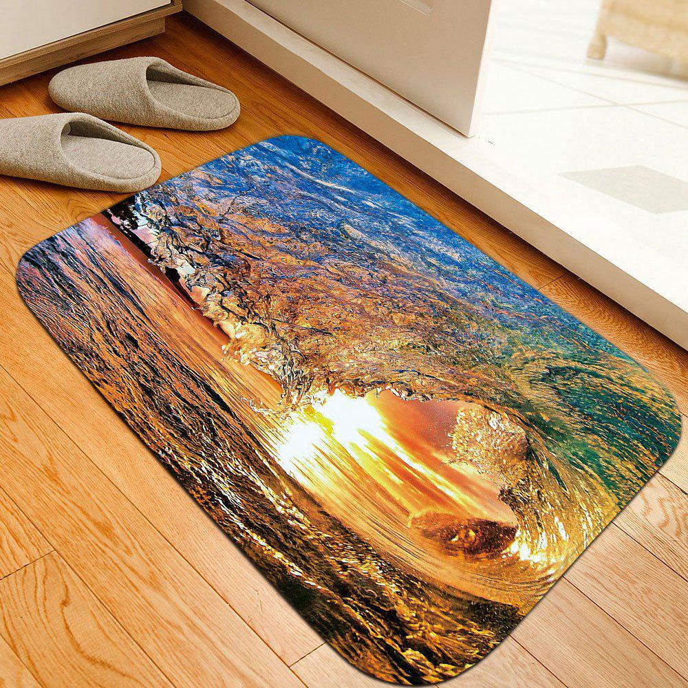 Dusk Surfing Print Skidproof Flannel Bathroom Rug skidproof flannel bathroom rug with nightfall surfing print