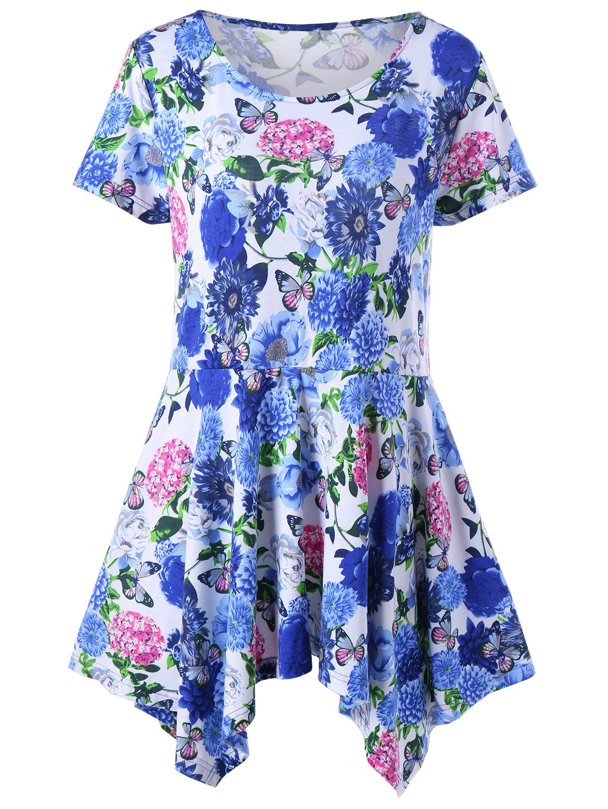 Plus Size Floral Handkerchief Peplum T-Shirt - BLUE 3XL