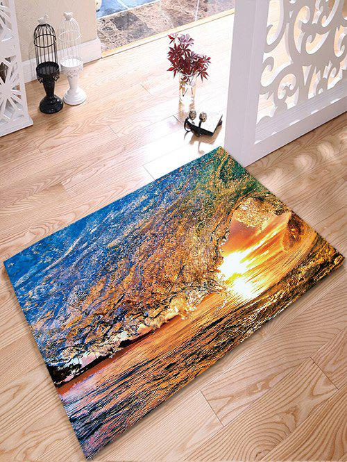 Flannel Skidproof Bathroom Mat with Surfing Print skidproof flannel bathroom rug with nightfall surfing print