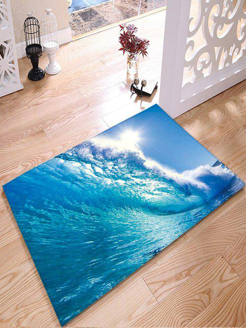 Surfing Print Water Absorption Flannel Skidproof Bathroom Rug skidproof water absorption bathroom rug with wood grain print