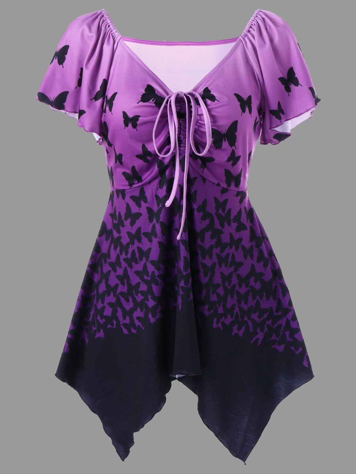 Plus Size Butterfly Print Empire Waist T-Shirt - PURPLE XL