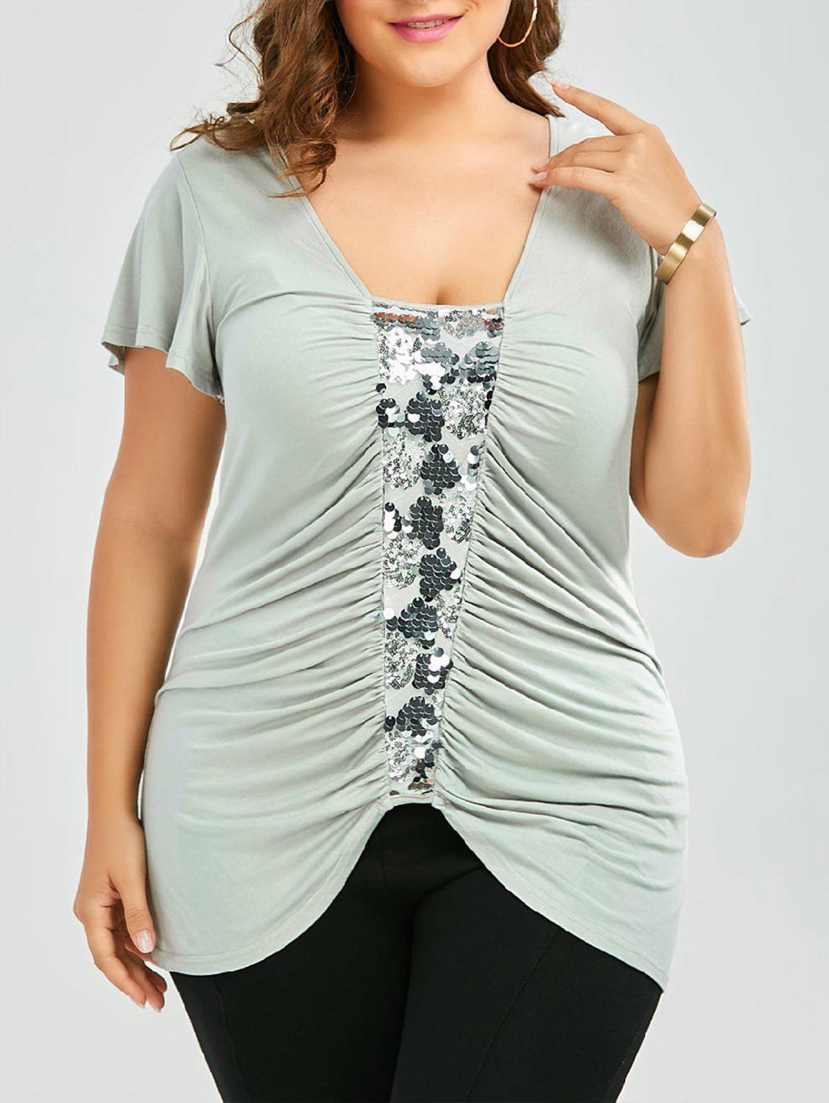 Plus Size Sequined Insert Ruched T-Shirt - PEA GREEN 5XL