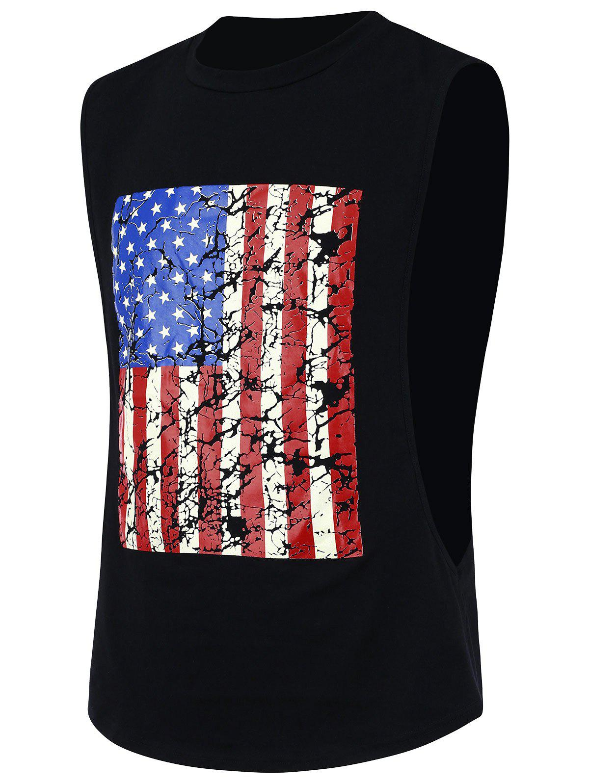 4th of July Sports Distressed American Flag Tank Top - BLACK XL