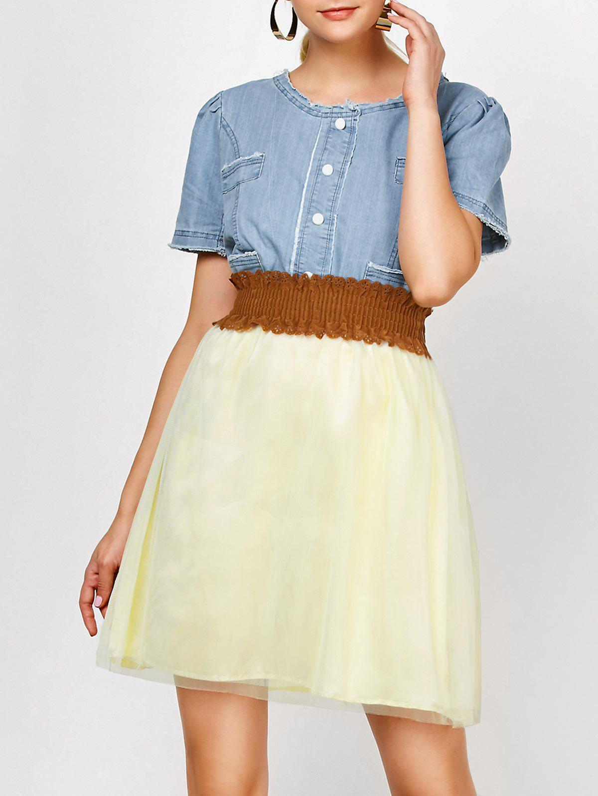 Elegant Scoop Neck Denim Splicing Short Sleeve Chiffon Dress With Belt For Women - COLORMIX S