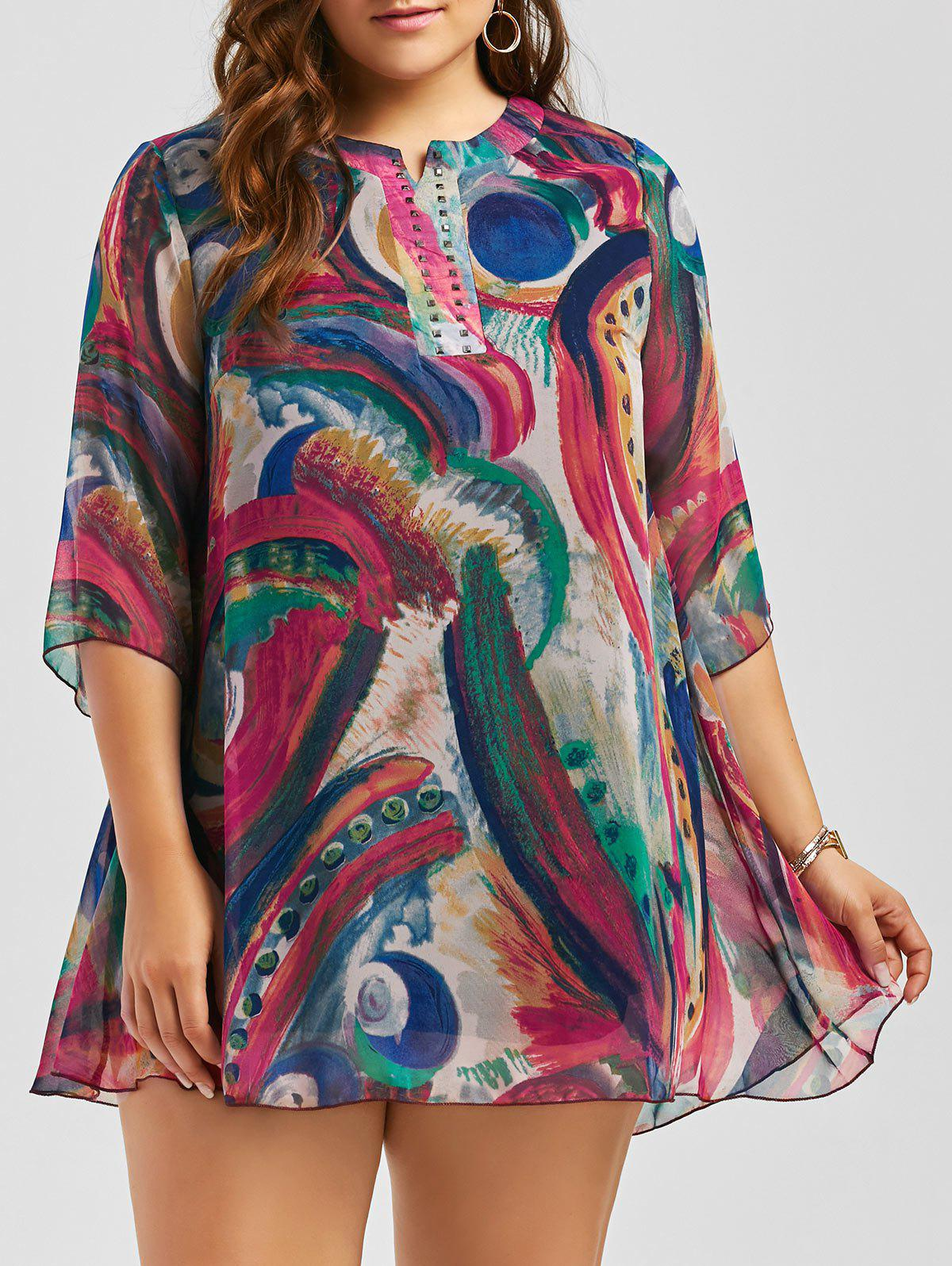 Plus Size Graffiti Printed Studded Chiffon Dress - multicolor 3XL