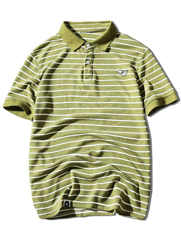 Hand Embroidered Striped Polo Shirt - YELLOW GREEN L