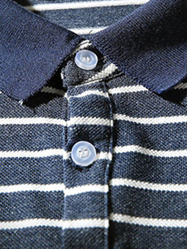 Hand Embroidered Striped Polo Shirt - CADETBLUE 3XL