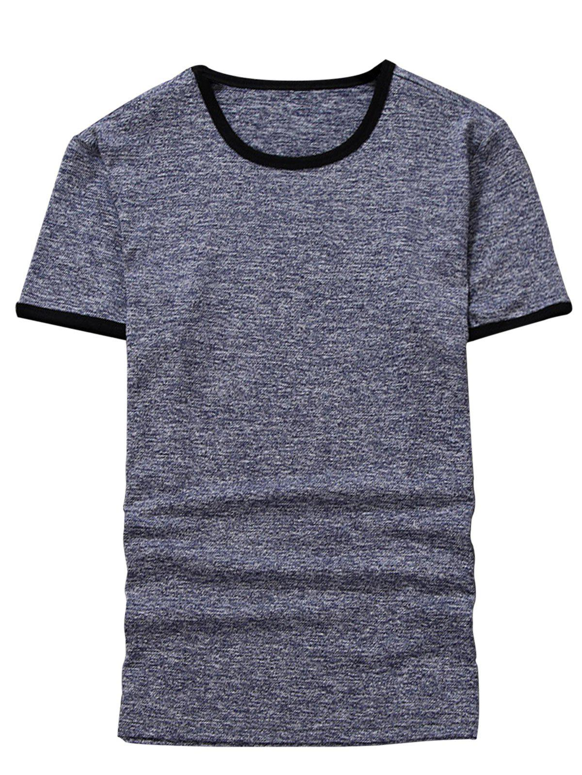 Space Dyed Ringer T-Shirt - BLUE GRAY 3XL
