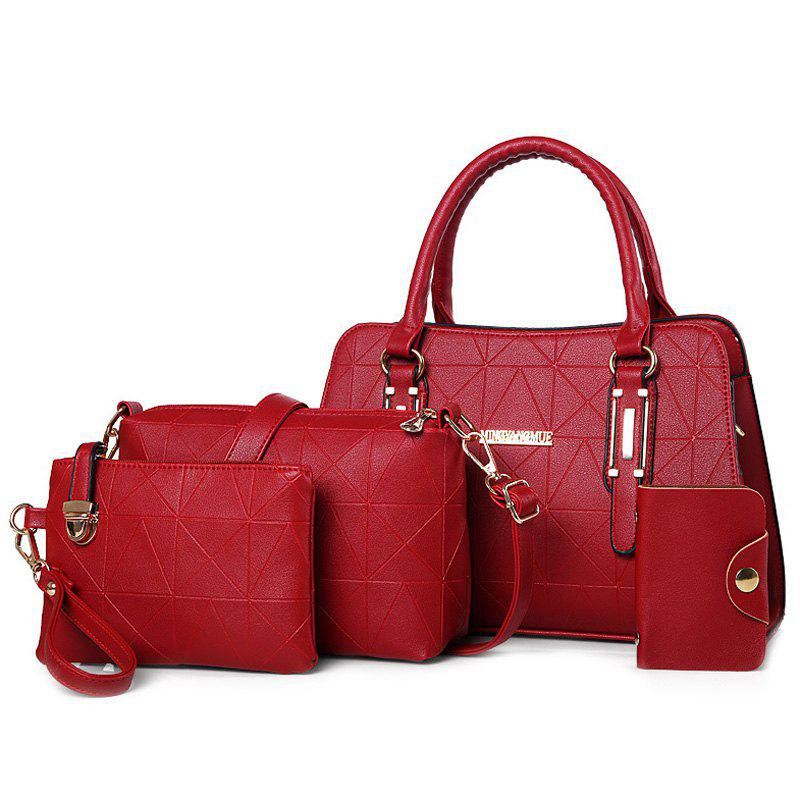 4 Pieces Geometric Pattern Handbag Set - RED